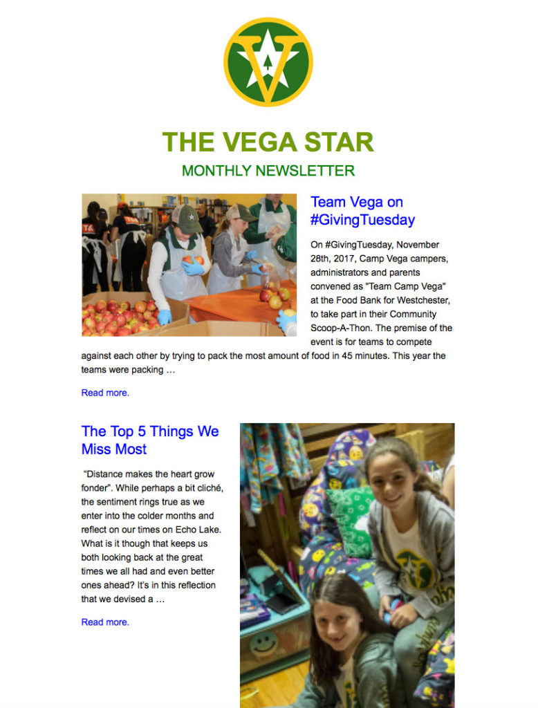 Camp Vega Newsletter